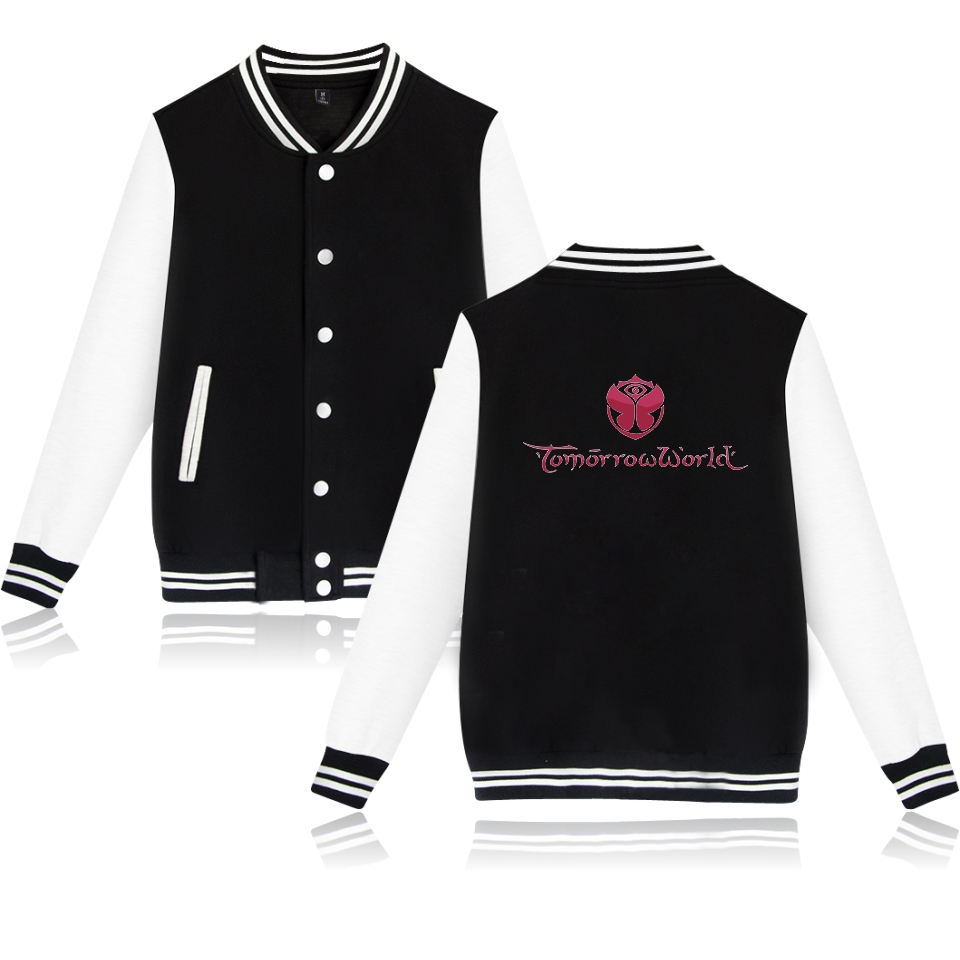 2017 Tomorrowland Baseball Jacket Women Print Are you Ready College Baseball Jackets Coat Black Fashion Autumn Jacket Clothes