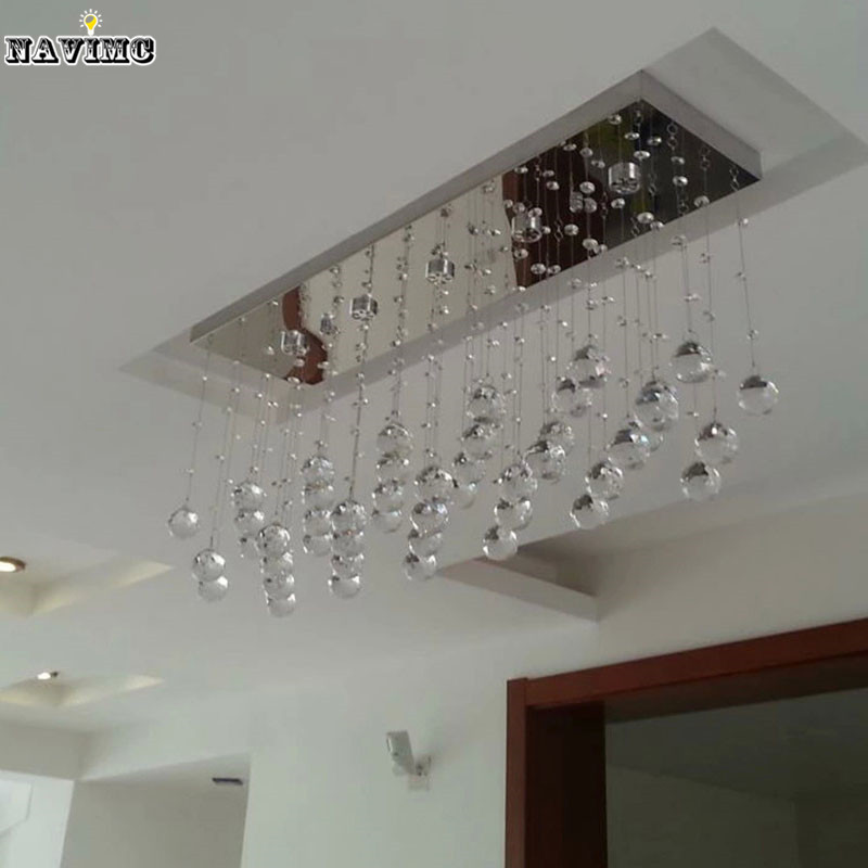 Contemporary LED Luster Crystal Chandelier Interior Curtain Wave - Wrought iron bathroom lights