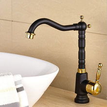 Royal Tall Grilled Black Painted Kitchen Faucet Long Mouth Square Body Swivel Gold&Black Bronze Basin Sink Mixer Tap B-009