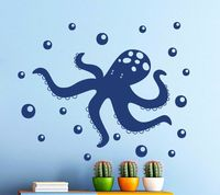 High Quality Vinyl Wall Sticker Octopus Sea Animal Decal Nursery Bathroom Home Decoration Wall Mural A