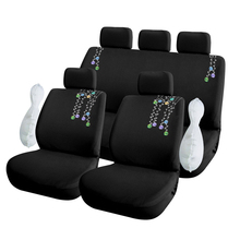 Flower Embroidery Car Seat Covers Universal Fit 9 Pieces Full Set Protector for Front & Rear  Auto Decoration