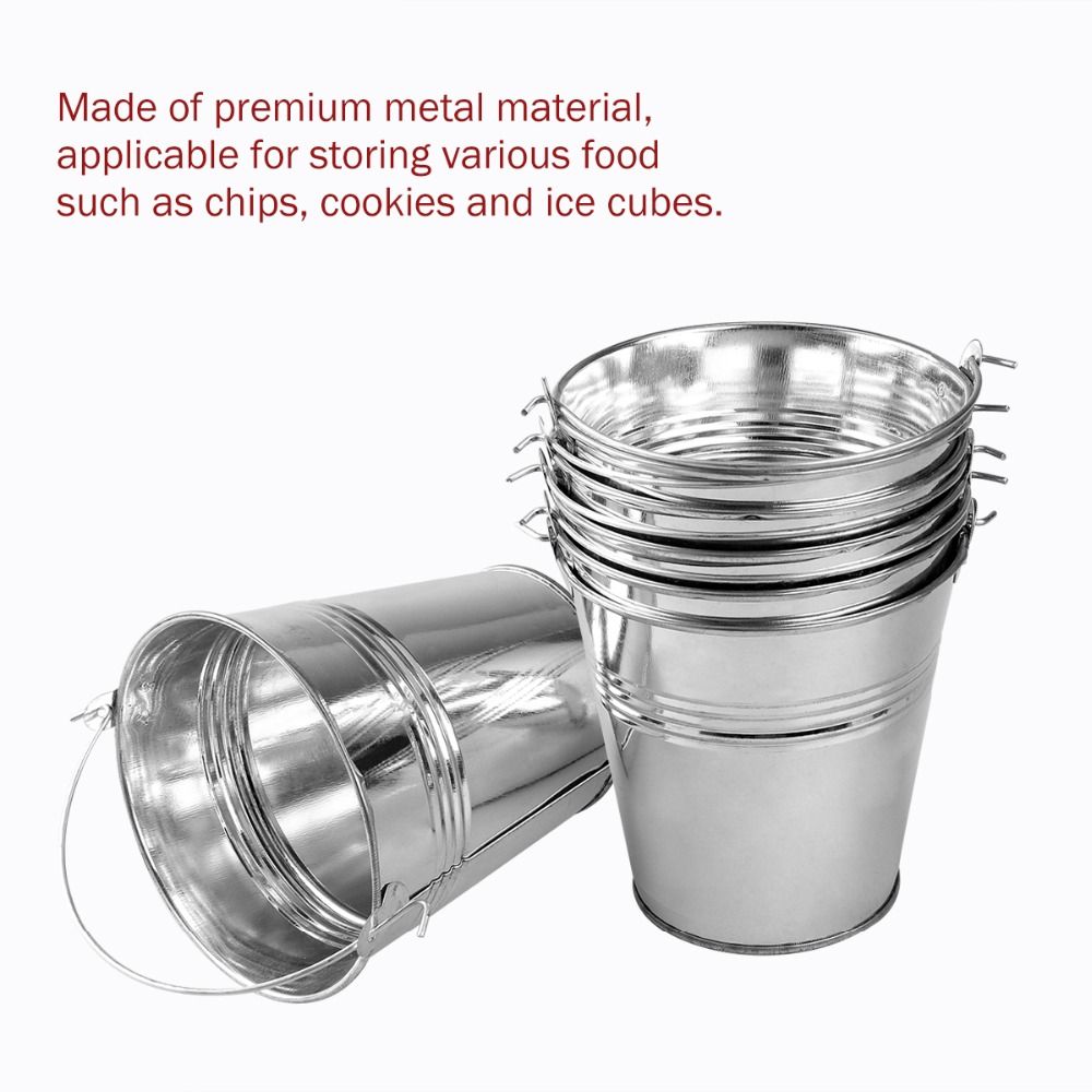 6pcs 10.5x7.2x10.5cm Mini Tinplate Metal Bucket Icing French Fries Tin Pails Candy Basket Party Supplies