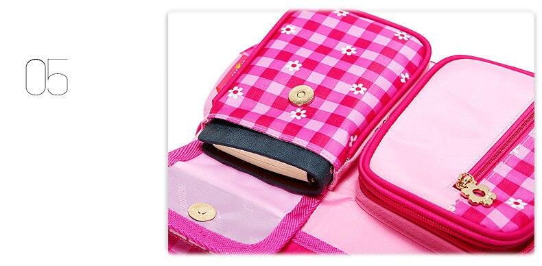 girls cute pink plaid bolsa Key Function 5 : Kids School Bag