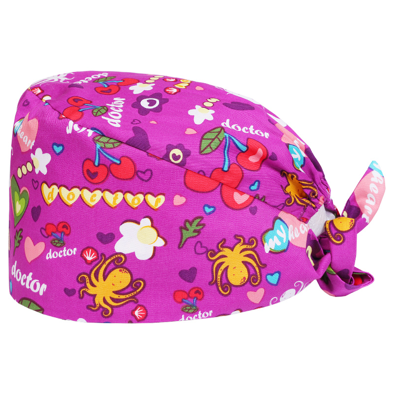 Women's Scrub Surgical Hats Medical Cap Octopus Print In Roseo Back Ties With Elastic Skin Fabric Cotton Sweat Band Flat Top