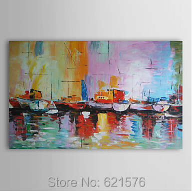 Hand-painted big size modern wall art picture home decor abstract Sailing boat Thick color knife seascape oil painting canvas - Modern Wall Art Home Decor Group Oil Painting store