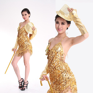 Image 1 - Женское платье для латиноамериканских танцев, юбка с бахромой и блестками, профессиональный костюм для латиноамериканских танцев