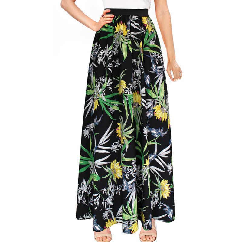 381616d3de09 Vfemage Womens Flower Floral Print Chiffon Elastic High Waist Summer 2018  Boho Bohemian Casual Beach Party