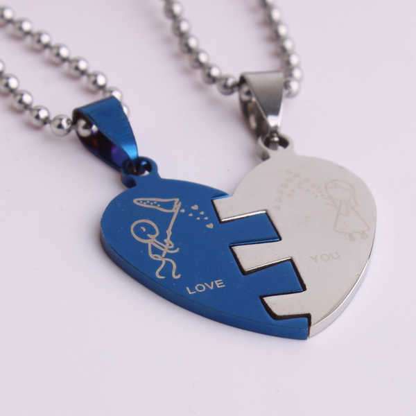 free shipping Blue color Lovers In half heart pendant necklaces bead chain for men women 316L Stainless Steel necklace wholesale