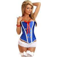 New Women Steel Bone Lace Up Steampunk Corset Sexy Blue Stewardess Bustier Espartilhos Overbust Slim Strapless Corselet Bustiers