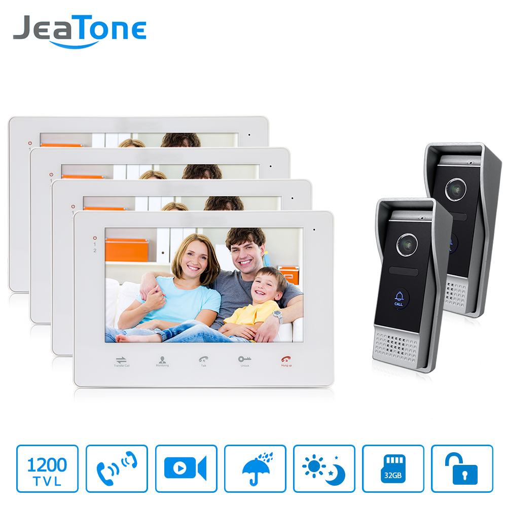 JeaTone 7 Wired Video Door Intercom Hands-free Monitor Intercom System With IP65 Waterproof Outdoor IR Night Camera 4v2 jeatone 10 hd wired video doorphone intercom kit 3 silver monitor doorbell with 2 ir night vision 2 8mm lens outdoor cameras
