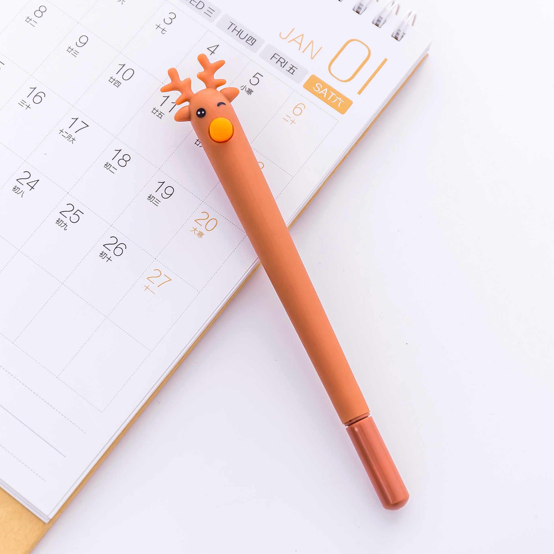 Yaratıcı sevimli karikatür geyik modelleme jel kalem ofis öğrenme Noel siyah geyik imza kalem kawaii okul malzemeleri