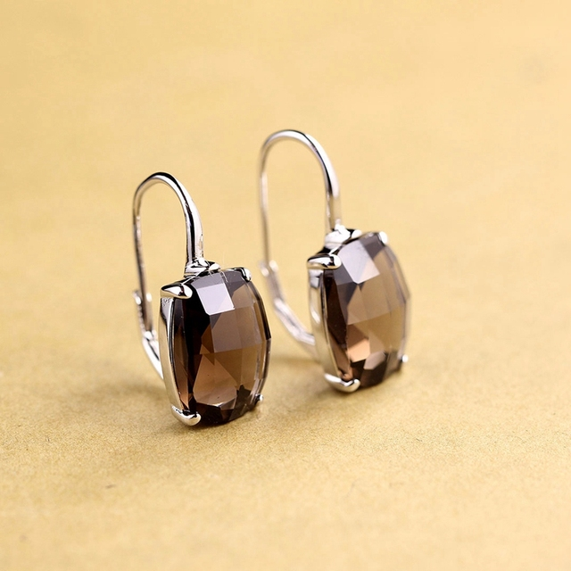 LouLeur 925 sterling silver Amethyst earrigns handmade natural Amethyst citrine crystal drop earrings for women crystal jewelry