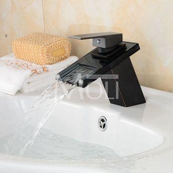 Basin Faucets Bronze Tap Modern Bathroom Sink Waterfall Faucets Mixer Taps Black Single Handle Glass Spout ML8102B 7