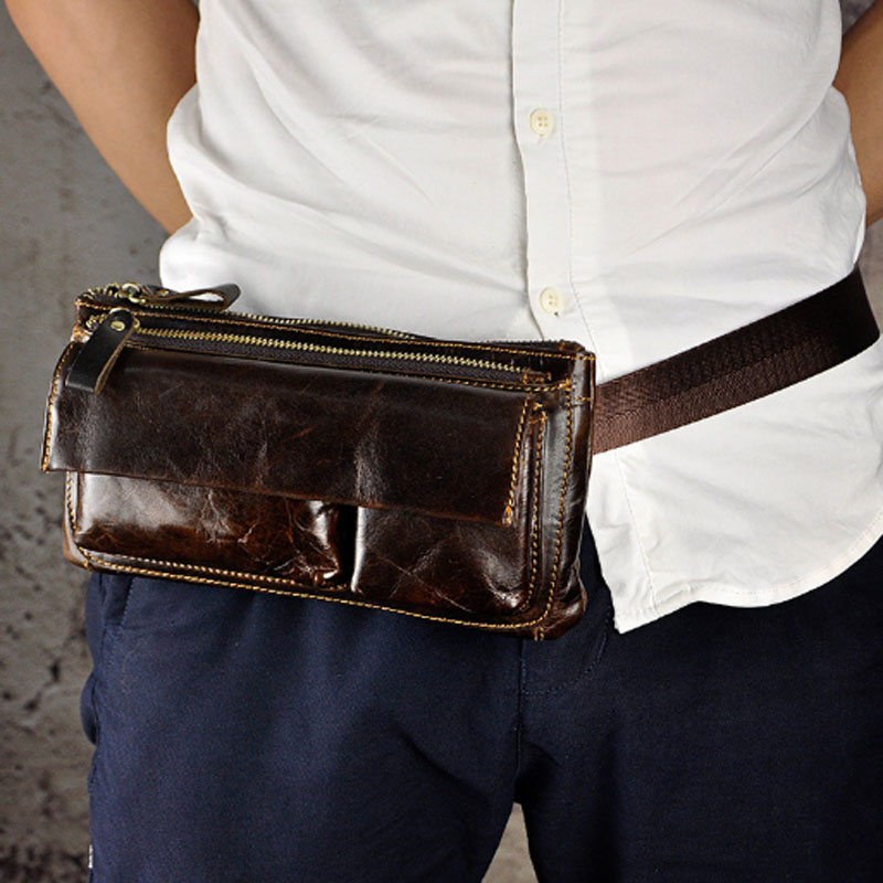 Men Oil Wax Cowhide Real Fanny Waist Pack For  Men Chest Hip Belt Bag Multi-Purpose Casual Travel Male Clutch Purse Bags