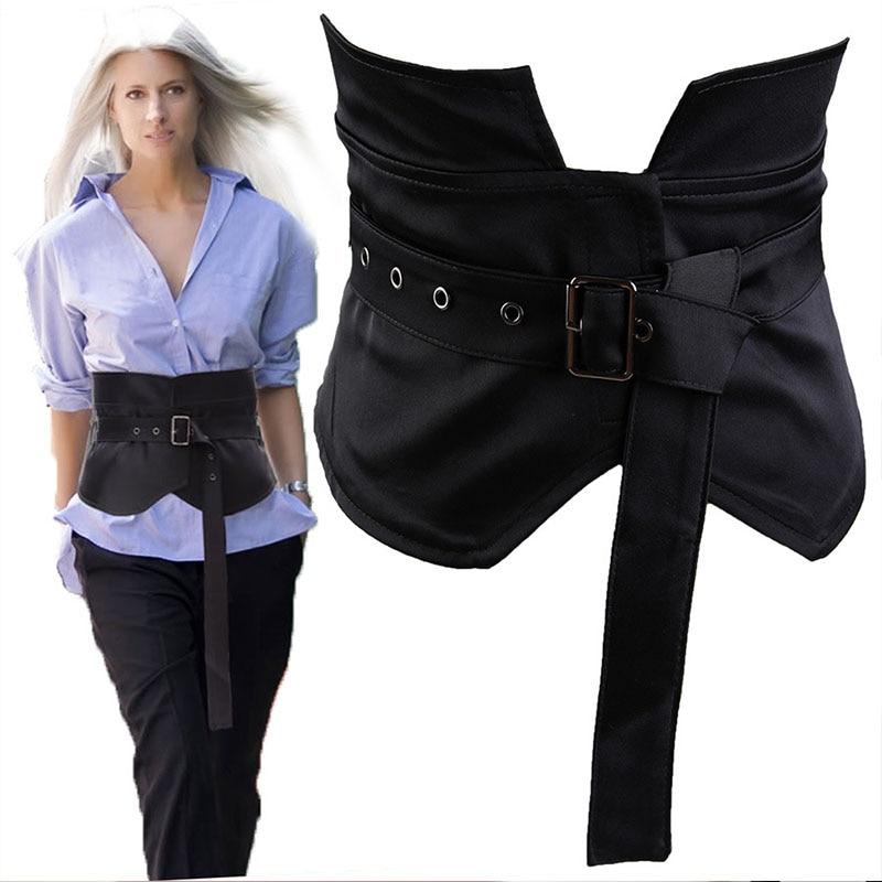 Vintage Black Wide Belt Cummerbunds Women Ladies Corset Belts Waistband Corset For Dress Fashion Strap Ladies Japanese Belt