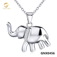 New Cute Elephant Design Sterling Silver Pendant Necklace Fashion Collar Jewelry For Women GNX0456