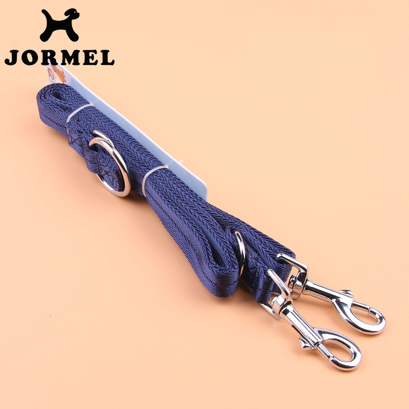 JORMEL 2019 Can Pull Two dogs Leash Long Smooth Leather Leashes Solid Color Dog Walker Dog Girl Boy Leashes(China)