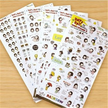 G210 Korean stationery Bobo head girl sticker transparent decorative sticker suit Diaries entry Stationery office supplies(China)