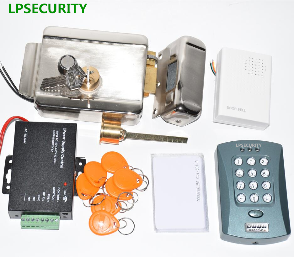 LPSECURITY 12VDC WG26 Reader Input RFID Keypad Access Control Electric Gate Door Lock Kit With 10 ID Tags  10 Pvc Cards
