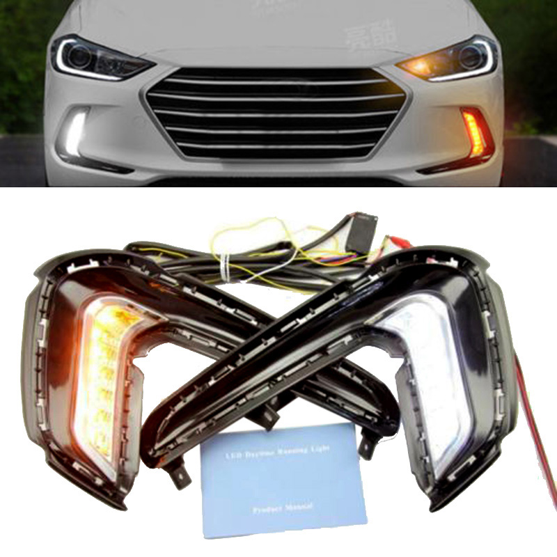 1Pair LED Daytime Running Lamp Fog Light DRL Turn Signal for Hyundai Elantra DXY88 12v car led drl daytime running light fog lamp cover with turn signal light for hyundai elantra 2016 2017