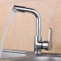Xueqin Two Hole Mixer Tap Modern Kitchen Bar Single Handle Sink Water Faucet Chrome Polished Rotable