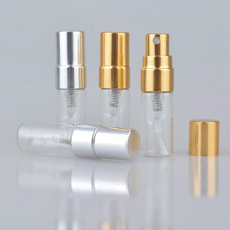 50pcs <font><b>3ML</b></font> Transparent Thin Glass <font><b>Spray</b></font> <font><b>Bottle</b></font> Sample Glass Vials Portable Mini Perfume Atomizer Gold Silver Cap image