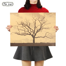 TIE LER Dead Trees Home Decor Poster Retro Kraft Paper Wall Sticker Living Room Bar Cafe Decoration 48X36cm(China)