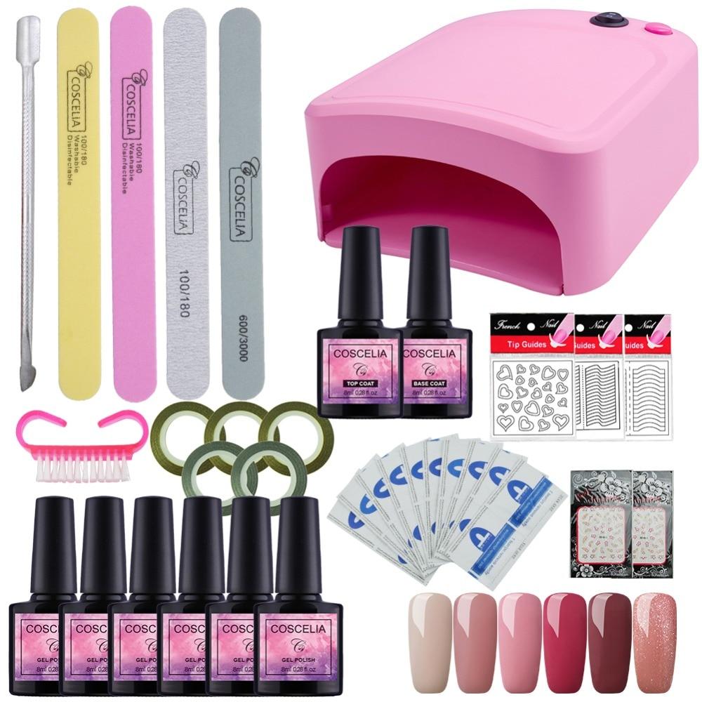 Best Gel Nails Set: Nail Art Set UV LED LAMP Dryer & 6 Color Gel Nail Polish