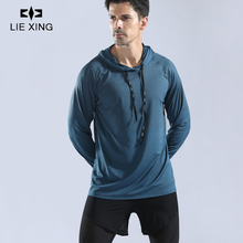 LIEXING dry fit long sleeve T shirt Running Sport T-Shirt Quickly Dry Fitness Gym Top Tee Winter Loose Fit Male Gym Clothes цены