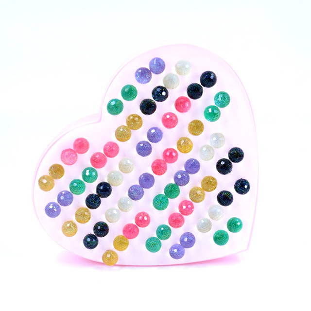 New Design 36pairs 10 Mm Colorful Resin Ball Beaded Earring Stud Sets For
