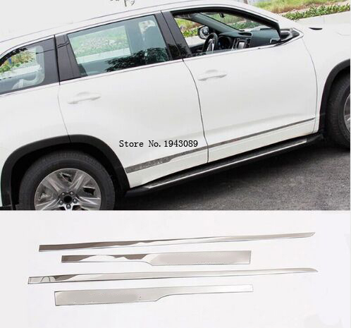 ACCESSORIES FIT FOR 2014 2015 toyota HIGHLANDER KLUGER CHROME DOOR SIDE LINE GARNISH BODY MOLDING PROTECTOR TRIM COVER