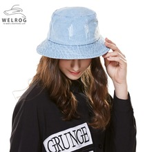 242fb70d583 WELROG New Washed Denim Bucket Hats for Unisex Female Flat Top Sunhat Summer  Casual Beach Tourist