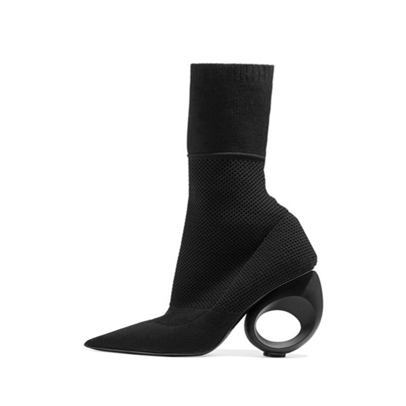 2019 Runway Style Ankle Boots Black Beige 10cm Hollow Out Heel Pointed Toe Slip On Women Knitted Stretch Sock Botas Ladies Shoes punk style pure color hollow out ring for women