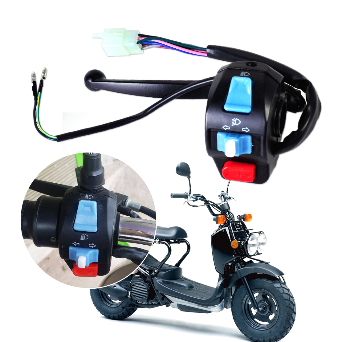 DWCX Motorcycle Left 7/8 Horn Turn Signal Low High Beam Handlebar Lever Controller Switch for Harley BMW Honda Suzuki Scooter
