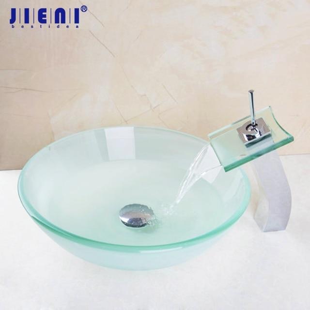 Wasserfall Glas Hohe Tippen Badezimmer Waschbecken Waschbecken Gehärtetem  Glas Hand Bemalt Toilette Bad Messing Set Wasserhahn