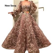 الأزياء 3D الزهور Appliqued الديكور تول ألف خط فساتين السهرة منتفخ طويل الأكمام حفلة موسيقية اللباس الطابق طول المرأة الأحمر السجاد اللباس