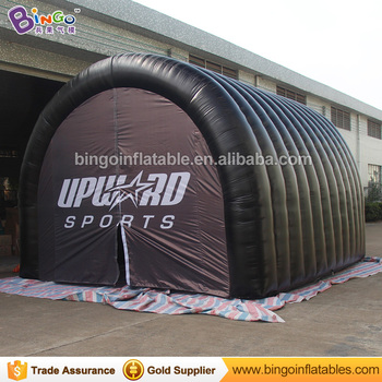 Advertising tent type 5X4.5X3.5 m inflatable tunnel with digital printing logo for promotion customized all-black event tent