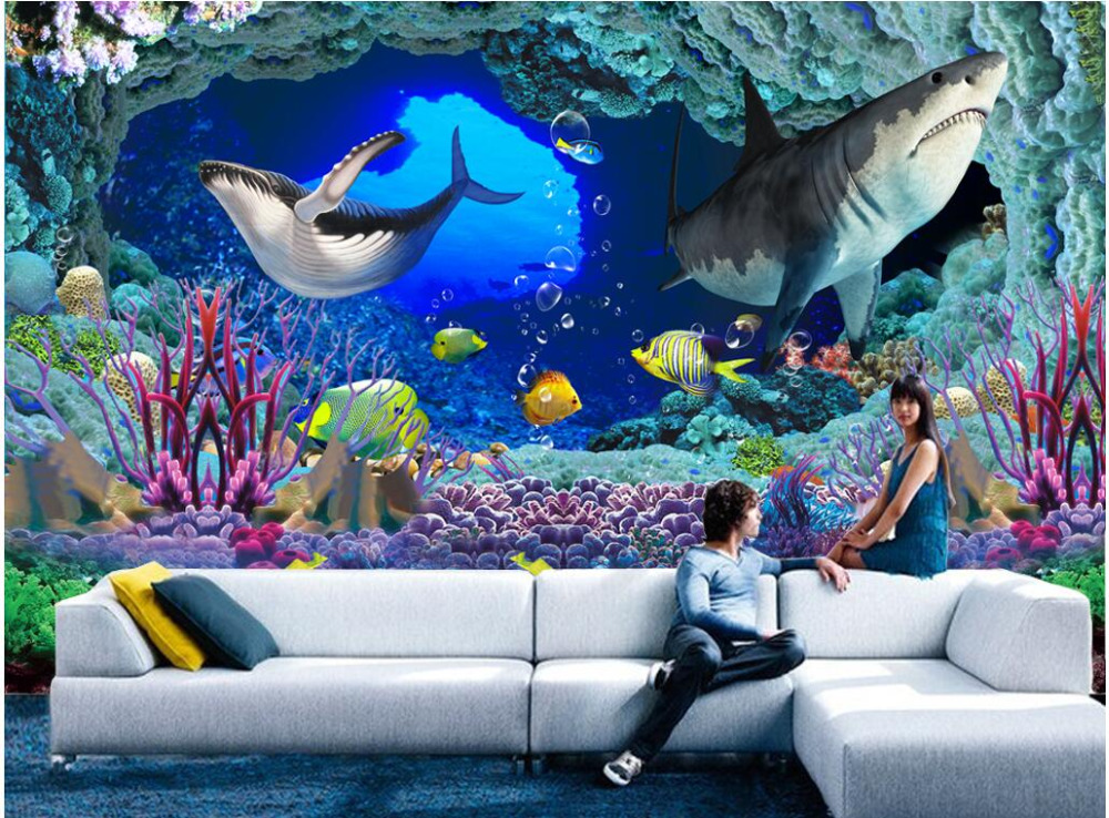 3d wallpaper custom photo non woven Underwater world cave