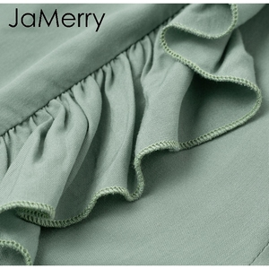 Image 5 - JaMerry 2019 vintage flare ruffle pants women Irregular high waist solid causal fashion pants Retro wide leg female trousers
