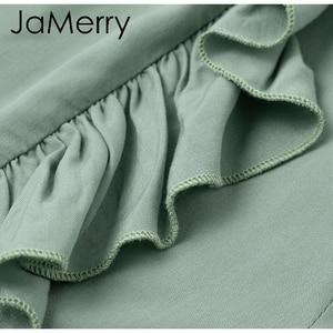 Image 5 - JaMerry 2019 винтажные расклешенные брюки с оборками Женские Асимметричные с высокой талией однотонные повседневные Модные брюки ретро широкие женские брюки