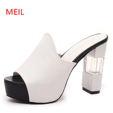 Platform Slippers Thick High Heels 11CM 2019 Summer New Elegant Transparent Slipper Heavy-bottomed Women Sandals