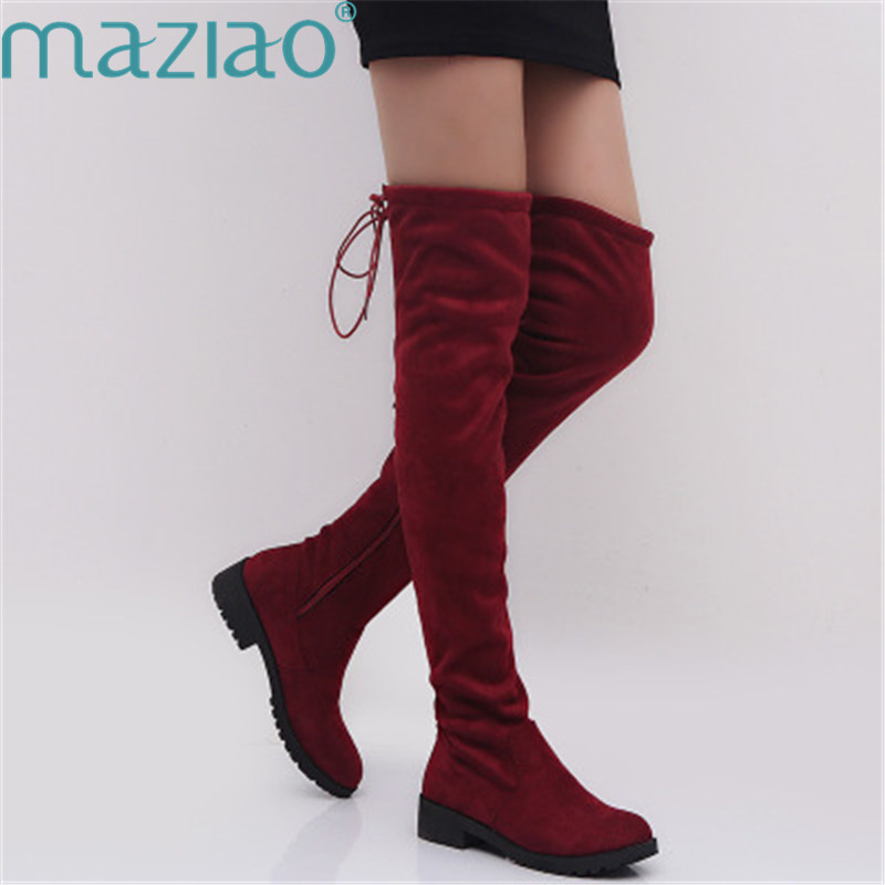 Women High Boots Red Suede Round Toe Lace Up Casual Thigh High Boots Women Over The Knee Boots MAZIAO