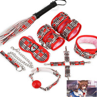 8pcs Set Bondage Restraints Pu Leather Bdsm Collar Handcuffs for Sex Whips Mouth Gag Nipple Clamps Mask Rope Adult Games