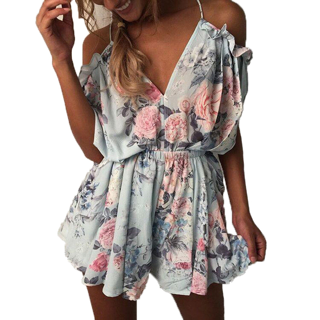 83bea7bc38 Summer Women Romper Shorts Jumpsuit Sexy Short Sleeve Playsuit V Neck  Bohemian Beach Overalls Casual Loose