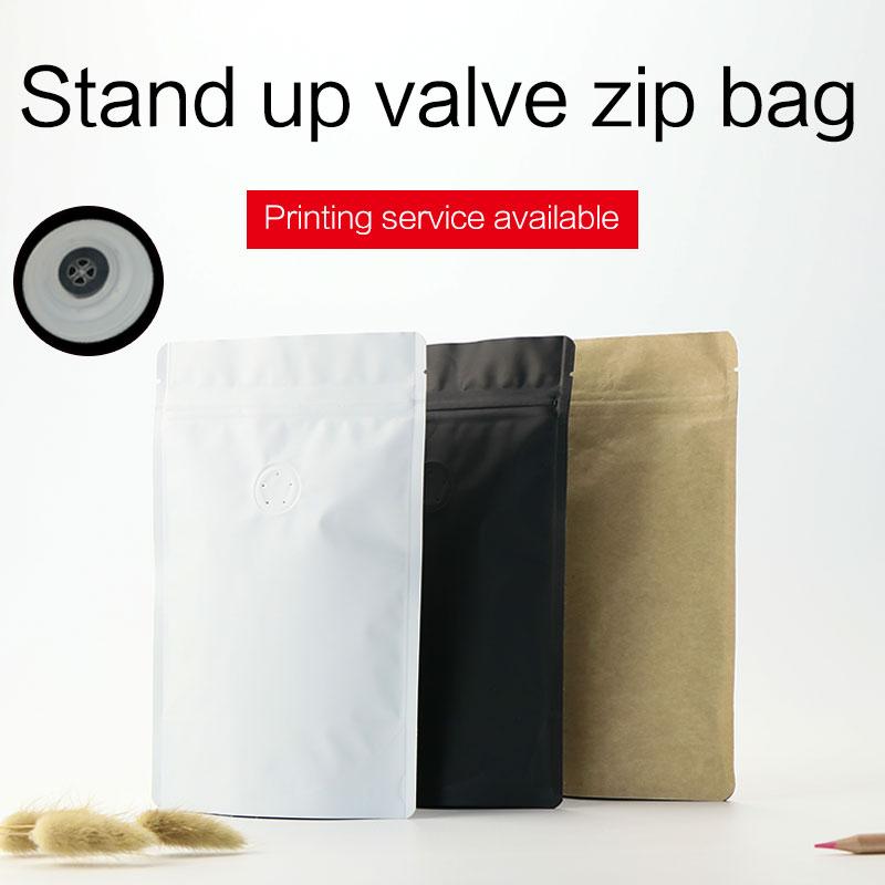 1/4 1/2 1 naela mattvalge valge kraft-kohvioa kott, ühe küljega degaseerimisklapiga, alumiiniumfooliumiga, tõmblukuga pakendikott