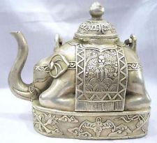 Artisanat Arts NICE chinois ancien collecteur chinois Tibet argent éléphant forme figure théière jardin décoration laiton