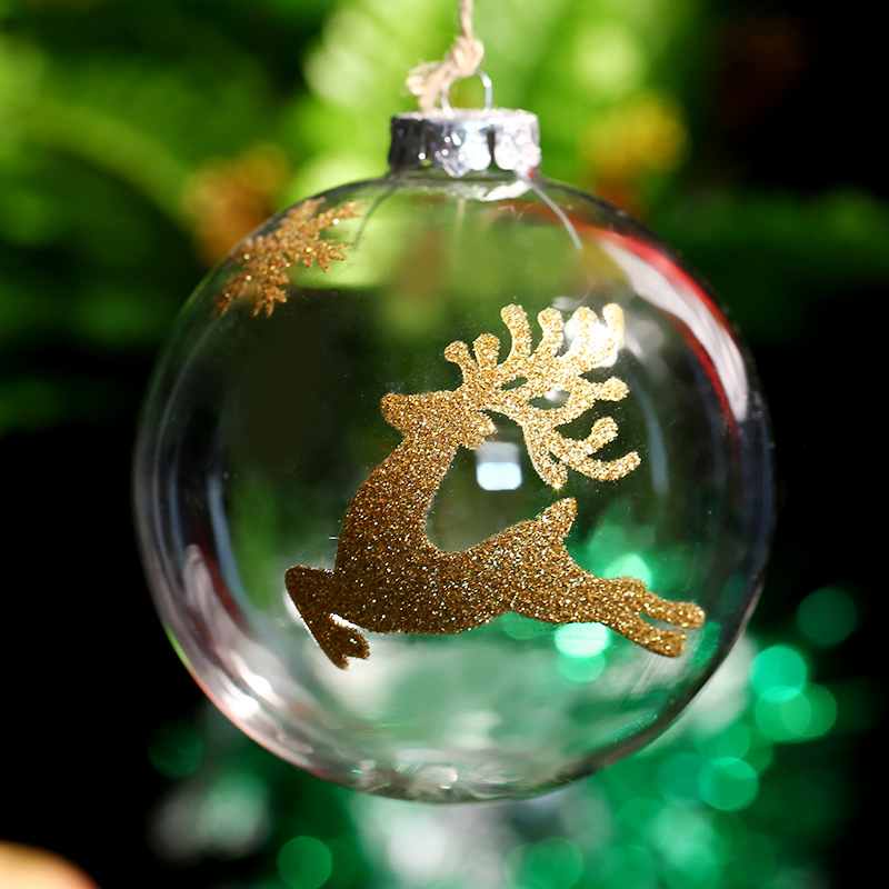 100mm Christmas Ornament Ball Glass Bauble Gold Deer Snowflake Xmas Tree Decoration Supplier Home Outdoor Happy New Year Home Outdoor Home Decor Homedeer Snowflakes Aliexpress