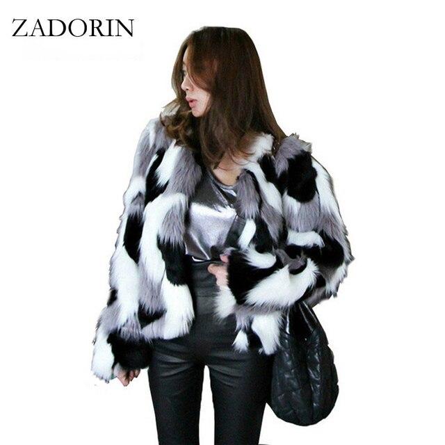 fa0faf82313 ZADORIN 6XL Plus Size Mixed Color Faux Fur Jacket Women Warm Winter Faux  Fur Coat Female