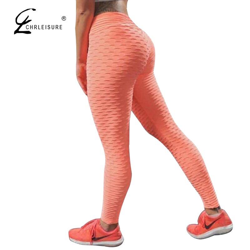 CHRLEISURE mujeres Push Up mallas de entrenamiento Leggings de cintura alta pliegue elasticidad respirable Leggins mujeres Leggin
