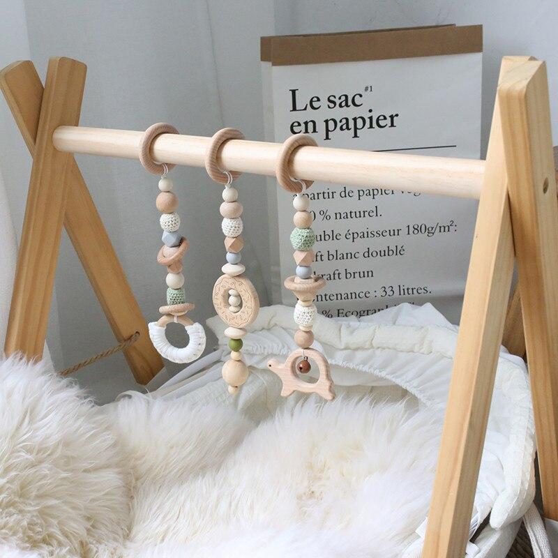1 ensemble bébé hochet Mobile berceau Silicone perles hêtre bois beignet dentition bricolage à la main infantile lit poussette suspendus décor avec support - 3